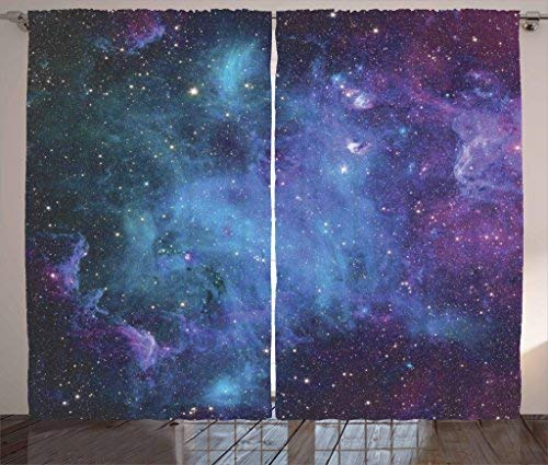 T&H Home Outer Space Curtains, Galaxy Stars in Space Celestial Astronomic Planets in The Universe Milky Way, 2 Panels Window Curtain for Dining Living Room Bedroom, 80