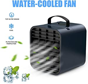 Portable Water Cooling Air Conditioner, Rapid Cooling Mini Evaporative Air Cooler with Mobile Phone Bracket, Personal Air Purification Humidifier for Home Office Bedroom (Blue)