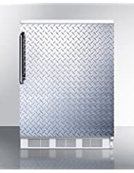 Summit FF67DPL Refrigerator, Silver With Diamond Plate