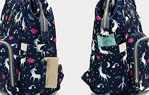 Black Unicorn Waterproof Diaper Bag Backpack Multi-Function Large Capacity Travel Backpack Nappy Bags for Baby