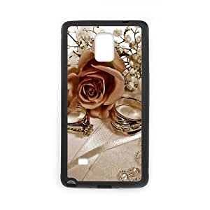 Samsung Galaxy Note 4 Cases Rings and Roses 01 for Teen Girls, Samsung Galaxy Note4 Cases for Girls for Teen Girls [Black]