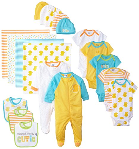 Gerber Baby Unisex' 19 Piece Baby Essentials Gift Set, Duck, 0-3 Months