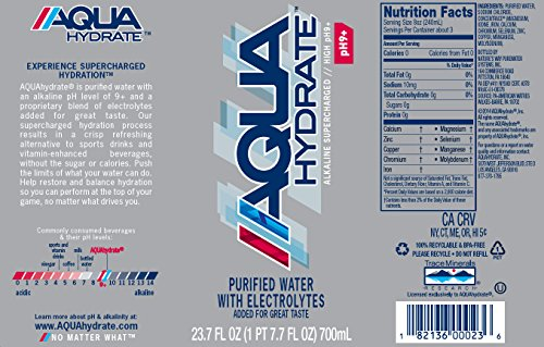 AQUAhydrate Electrolyte Enhanced Water Ph9+, 23.67  Fl. Oz (Pack of 12) by AQUAhydrate (Image #1)