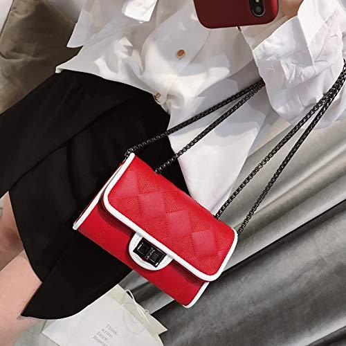 Piccola white Casual Semplice Borse Borsa In Ypsg Eleganti Pu Pelle Red Sezione Donna Orizzontale Stampata A Quadrata Da 1B4anEZn
