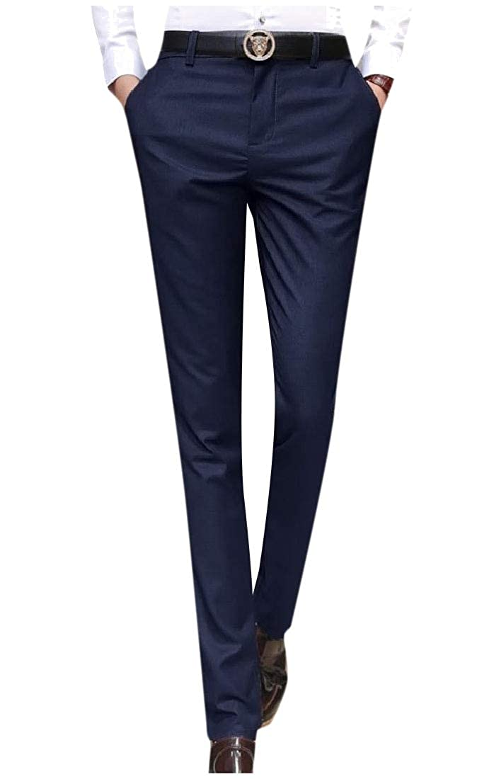 Abetteric Mens Straight-Fit No Iron Business Casual Skinny Plain-Front Pant