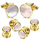 Digabi 6Pcs 18K Gold Plated Mother of Pearl Round Cufflinks and Shirt Stud Set Tuxedo Studs for Shirts (Gold)