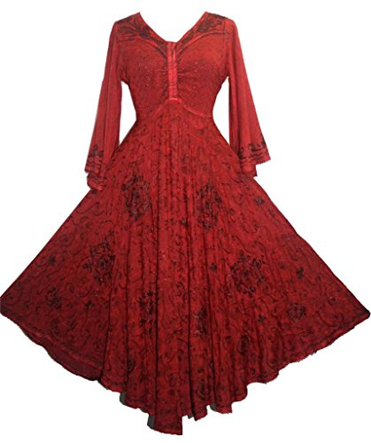 206 DR Agan Traders Medieval Bell Sleeve Dress Burgundy Small