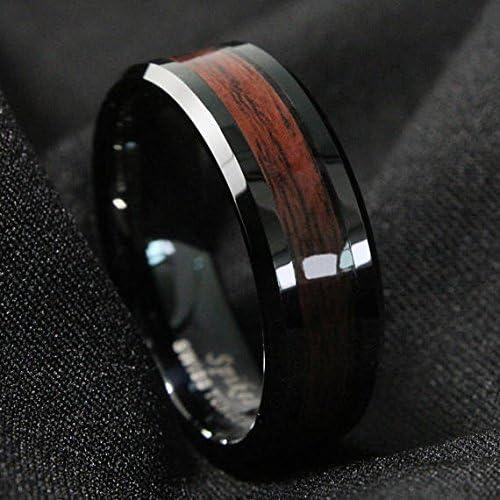 Negro Hombres Anillo de carburo de tungsteno de la banda de madera rojo boda joyas – 8 mm Meteorito negro incrustaciones de boda banda – carburo de tungsteno para hombre Anillo: Amazon.es: Joyería