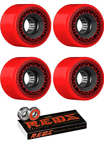 (Bones Wheels 56mm ATF Rough Rider Tank Red Skateboard Wheels - 80a with Bones Bearings - 8mm Bones Reds Precision Skate Rated Skateboard Bearings (8) Pack - Bundle of 2)