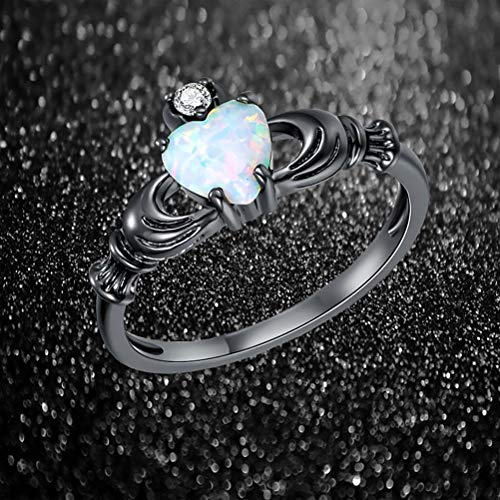 GerTong 1 PCS Luxury Women's Ring Elegant Heart Shape Opal Black Zircon Diamond Rings Anniversary Engagement Ring Jewelry Gifts for Women Lady Girls Size 7# by GerTong (Image #1)