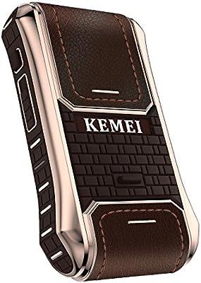 Kemei Km-5300 - Afeitadora eléctrica de piel para hombre (2 en 1, recargable, inalámbrica), color marrón: Amazon.es ...