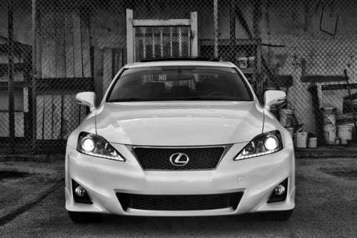 Lexus F-Sport Is Front Black and White Hd Poster Sports Sedan Print