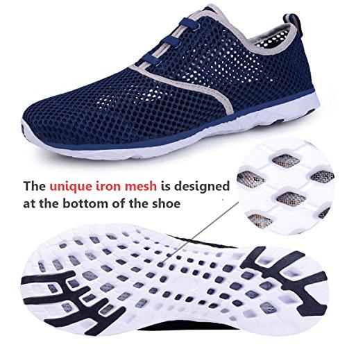 Water Shoes for Men Quick Drying Aqua Shoes Beach Pool Shoes Mesh Slip On (Dark Blue)