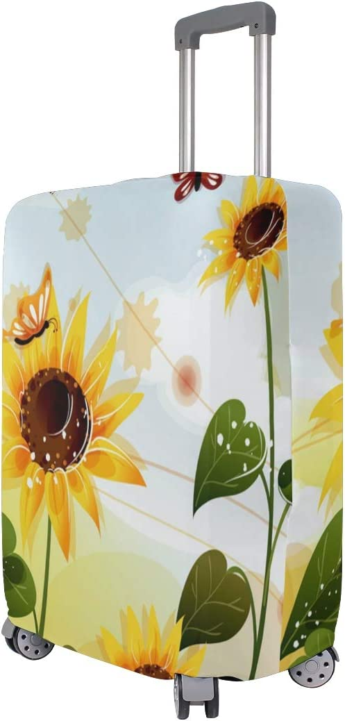 FOLPPLY Sunflower With Butterfly Luggage Cover Baggage Suitcase Travel Protector Fit for 18-32 Inch
