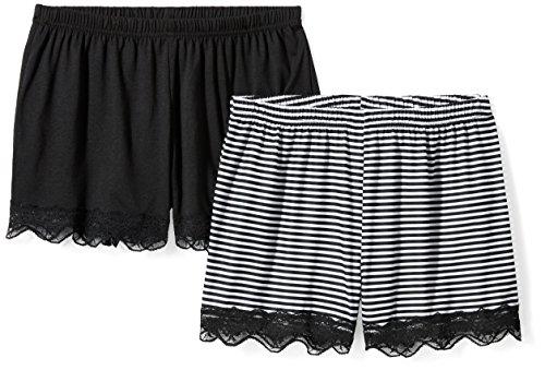Selene Women's Knit 2-Piece Short Set Large Black Stripe + Black Solid ()