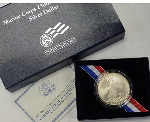 (2005 P Commemorative Marine Corps 230th Anniversary Uncirculated Silver Dollar $1 OGP US Mint)