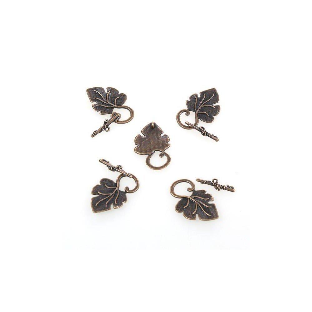 5 pi/èces Bronze Pr/ésentoirs pour Bijoux Accessoires cr/éation Fermoir t Toggle Feuille de Vigne 36 x 22 mm