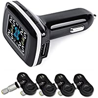 Catinbow Tire Pressure Monitoring System, LCD Display 4 Internal Sensors Real-time Wireless Cigarette Lighter Car Tire Pressure & Tire Temperature Gauge Alarm TPMS with USB Charger Port
