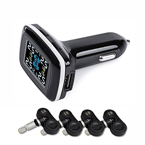 Catinbow Tire Pressure Monitoring System, LCD Display Real-time Wireless Tire Pressure Gauge Alarm TPMS with 4 Internal Sensors