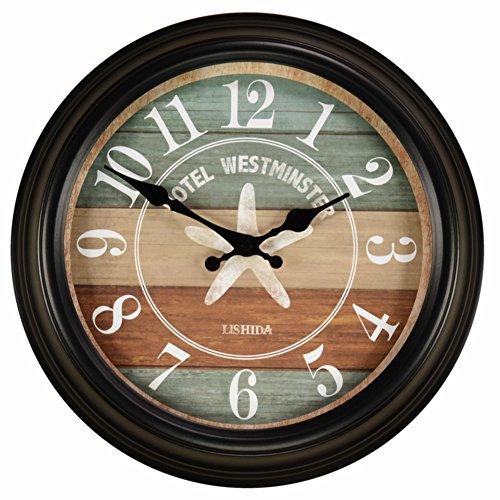 Creative Modern American Wall Clock,Retro Living Room Silent Wall Clock,Antique European Wrought Iron Fashion Craft Wall Charts,Wall Clock-O 14inch ()