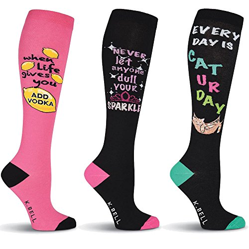 K.BELL Women's Knee High Socks Perfect Day Gift Set of 3: Lemons & Vodka, Sparkle, Caturday Cotton Blend Knee High (Imported Vodka)