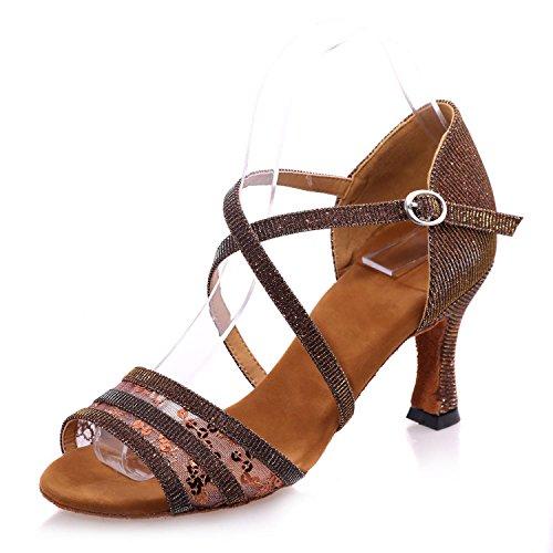 L@YC Zapatillas de baile para mujer en cuero latino Tacón acanalado adaptable / Dorado / Negro / Marrón / Rojo Brown