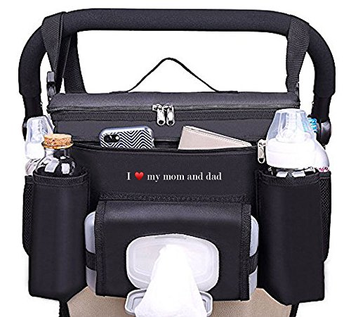 FamCare Premium Stroller Organizer Universal Fit w/Insulated Cup Holders, Wipes Pocket, Zipper and Shoulder Strap - XLarge Storage Space for Phone, Diapers & Toys - The Perfect Baby Shower Gift! (Insulated Stroller Organizer)