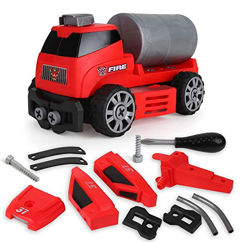 Beebeerun 6-in-1 DIY Take Apart Fire Rescue Vehicles Models Car Toys, Fire Engine STEM Learning Toys Building Play Set for 3 4 5 6 7 8 Year Old for Kids, -