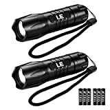 LE Tactical LED Flashlight, Small and Super Bright Torch Light, Waterproof, 200 Lumens for Camping, Running and more, AAA Batteries Included, Pack of 2