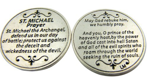 Religious Gift Saint St Michael the Archangel Prayer Protect Us Pocket Token (Prayer To St Raphael For Happy Meetings)