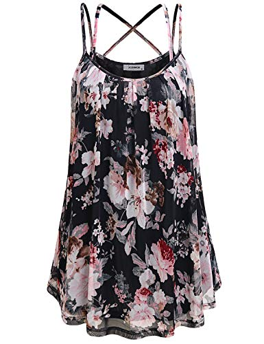Spaghetti Strap Tank Top, Womens Sleeveless Pleated Front Mini Dress Shirt Simple Cozy Flower Printed Double Layer Mesh Cami Tank Tops for Juniors Floral Print Black M
