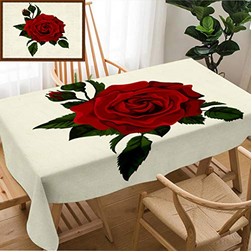 Unique Custom Design Cotton And Linen Blend Tablecloth Red Rose Isolated On White With Leaves Perfect For Background Greeting Cards And Invitations Of Tablecovers For Rectangle Tables, 60