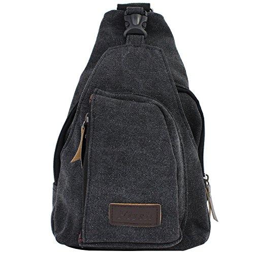 (AIKE Men Canvas Shoulder Casual Bag Sling Chest Bag Traveling Bag (Black, Large) )