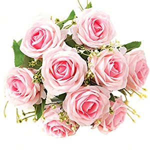 XONOR Artificial Silk Roses Flowers Fake Bridal Bridesmaid Flower Bouquet for Home Garden Wedding Party Decoration, 9 Heads, 31cm 47