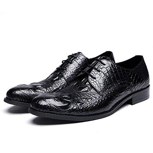 Fulinken Premium Alligator Läder Mens Snör Åt Upp Oxford Finskor Svarta
