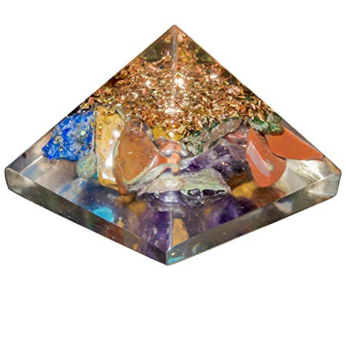 YATHABI Set of 3 Mix Chakra Onyx Crystal Orgone Gemstone Pyramid with Crystal Point Positive Energy Generator for Aura Cleansing Chakras Balancing & Reiki Healing Meditation Yoga Size:- 1 Inch ()