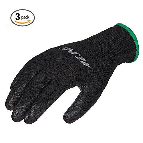 ILM Safety Work Gloves Utility Ultimate Nitrile Grip For Garden Electrician Automotive Kids Women Men (XXL, BLACK) by ILM