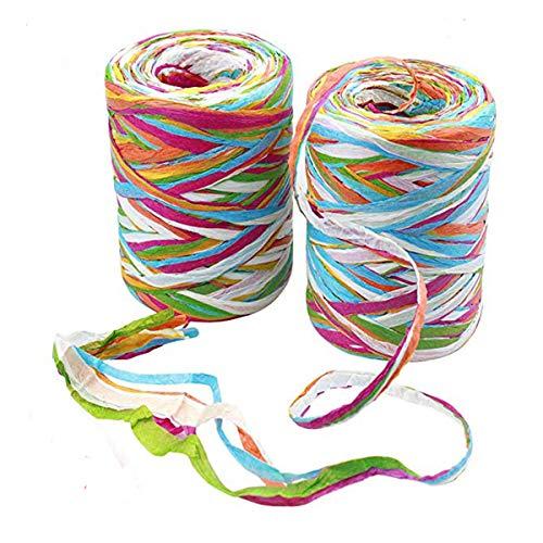 2 rollos cinta de Rafia de color de 80 m de papel de rafia cintas de cinta de embalaje de hilo de embalaje para envolver regalos de navidad, ...