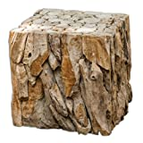 Luxe Rustic Driftwood Bunching Cube Table For Sale