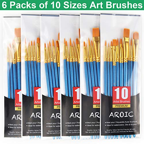 Acrylic Paint Brush Set, 6 Packs / 60 pcs Nylon Hair Brushes for All Purpose Oil Watercolor Painting Artist Professional - Brushes Paint Artists