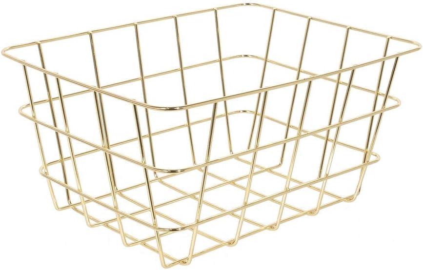 Color: Dorado con Asas Blancas 18x13x8 cm. your castle Set de 2 cestas met/álicas de supermercado Mini Decoraci/ón Cocina o Pasillo Almacenamiento para Cuarto de ba/ño
