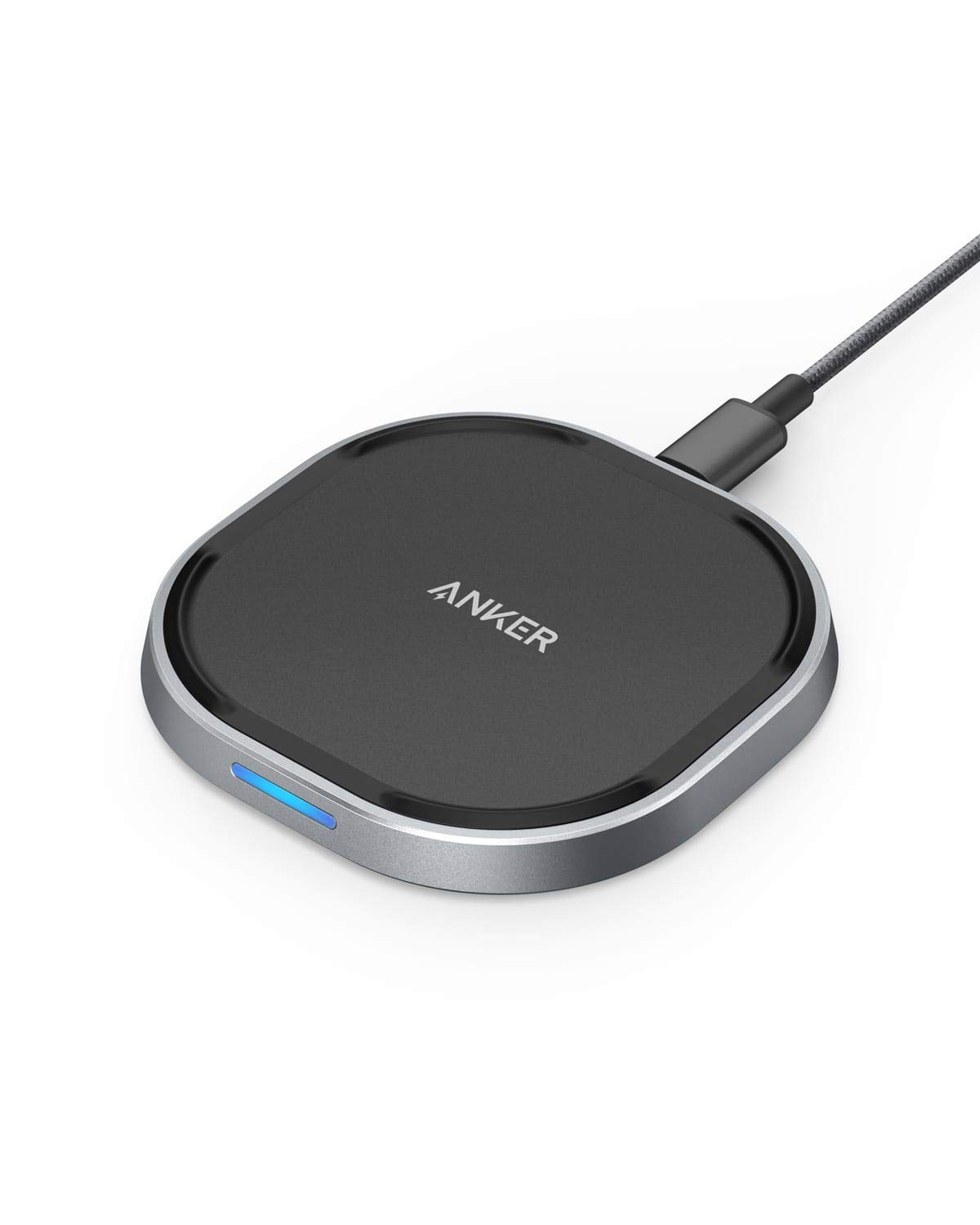 Anker Wireless Charger with USB-C, 15W Metal Fast Wireless Charging Pad, Qi-Certified, 7.5W Fast Charge iPhone XS/XS Max/XR/X/8/8 Plus, 10W for Galaxy S9/S9+/S8/Note 9, PowerWave 15 Pad(No AC Adapter) by Anker
