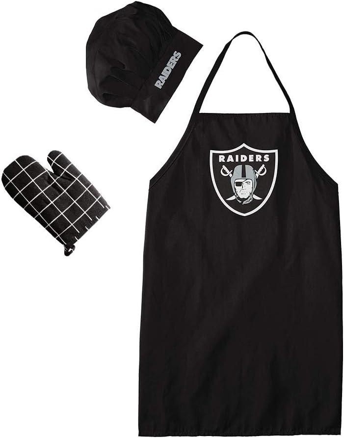 Newbetter Fit Las Vegas Raiders Oakland Raiders Chef Hat & Apron & Oven Mitt(Fit Raiders)