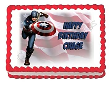 Amazoncom Captain America edible cake topper decoration cake image