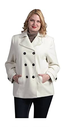 99fadfe8fd9d1 Fourteen Zero Women Plus Size Pea Coat Faux Wool Warm Winter Jacket Double  Breasted Fully Lined