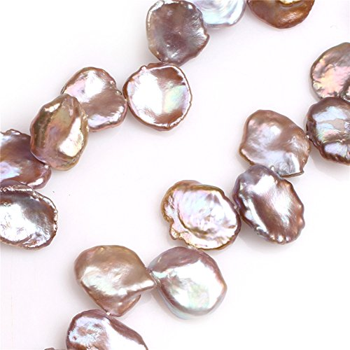 Natural Top Drilled Coin Freshwater Cultured Pearls Beads for Jewelry Making DIY (14x19mm/Purple ()