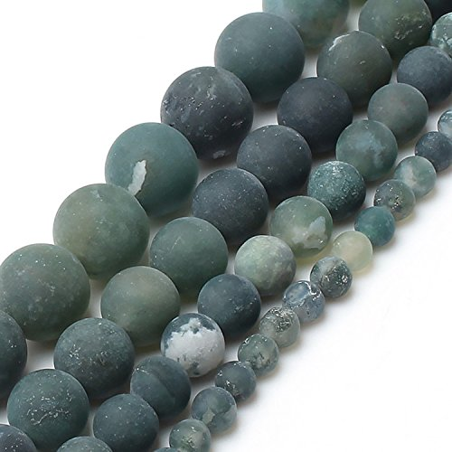 Love Beads Matte Green Moss Agate Beads 10 mm Round Loose Jewelry Making
