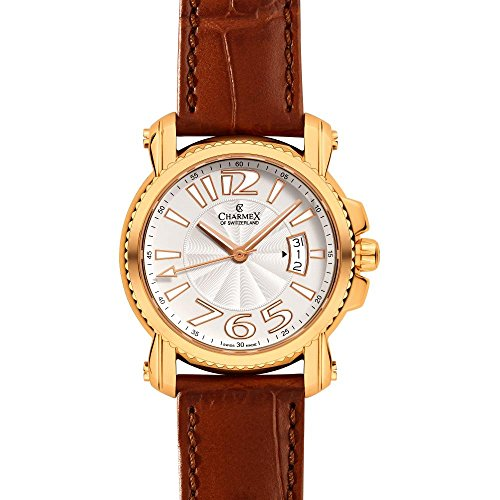 Charmex Berlin 2510 42mm Gold Plated Stainless Steel Case Brown Calfskin Synthetic Sapphire Men's Watch