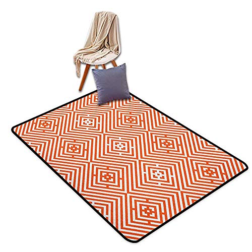 (Inner Door Rug Burnt Orange Rhombuses in Bullseye Pattern with Herringbone Zigzag Stripes Door Rug for Internal Anti-Slip Rug W5'xL6')
