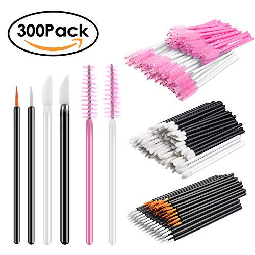 INFILILA 300 Pack Disposable Makeup Applicators Set-100pcs Lip Brushes Applicators,100pcs Mascara Wands,100pcs Eyeliner Brushes 6 Styles by INFILILA